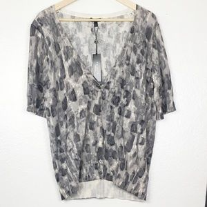 NWT Talbots Grey Watercolor Short Sleeve Cardigan